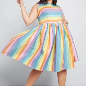 Modcloth Perfected by Pockets Rainbow A-Line Dress